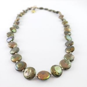 Artisan Pearl Necklace Green Real Pearls